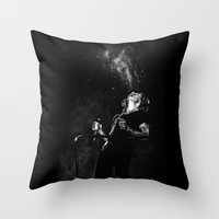 cyrilliart Throw Pillows featuring Fountain Harry by Cyrilliart
