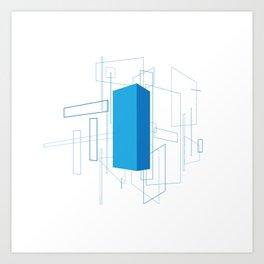 Blueprint #3 (blue) Art Print