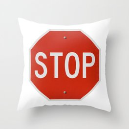Red Traffic Stop Sign Throw Pillow