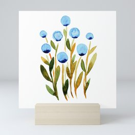 Simple watercolor flowers - blue and sap green Mini Art Print