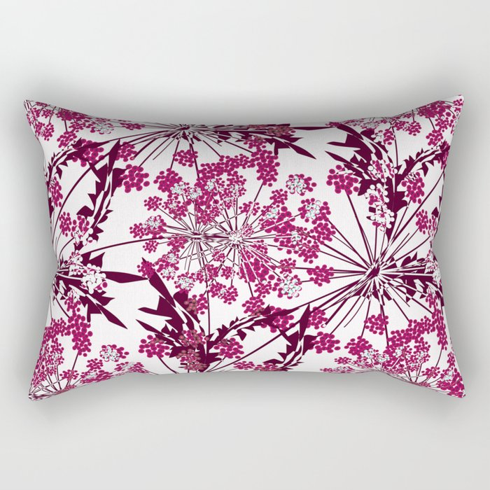 Laced crimson flowers on a white background. Rectangular Pillow