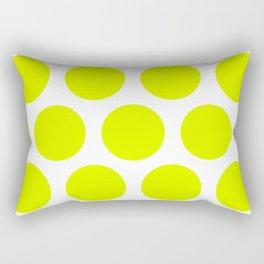 Chartreuse Large Polka Dots Rectangular Pillow