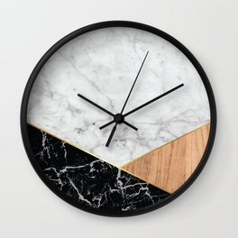 White Marble - Black Granite & Wood #711 Wall Clock