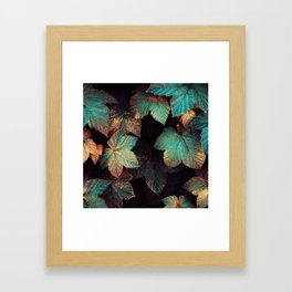 Copper And Teal Leaves Framed Art Print