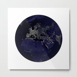 Earth Globe Lights Metal Print