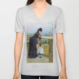 Woman and child on balcony - Digital Remastered Edition Unisex V-Neck