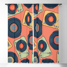 Record Player Pattern Blackout Curtain