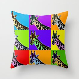 Poster with giraffe in pop art style Throw Pillow