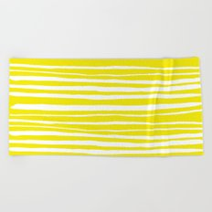 Small Sun Yellow Handdrawn horizontal Beach Stripes - Mix and Match with Simplicity of Life Beach Towel