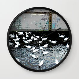 Swans in Berlin 2 Wall Clock