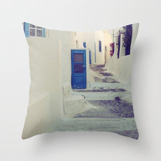 Santorini Door III Throw Pillow