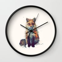 amy hamilton Wall Clocks featuring Fox by Amy Hamilton