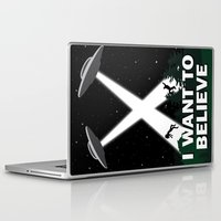 i want to believe Laptop & iPad Skins featuring I want to believe by BomDesignz