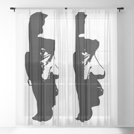 BLACK AND ART ARE BEAUTIFUL Sheer Curtain