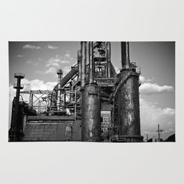 Black and White Bethlehem Steel Blast Furnace Rug