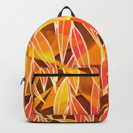 Bright Golden Orange Leaves Floral Print Backpack
