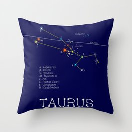 Zodiac Constellation Taurus. Real Color Of The Stars Throw Pillow