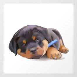 Rottweiler Puppy Study #1 Art Print