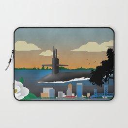 Kings Bay, GA - Retro Submarine Travel Poster Laptop Sleeve