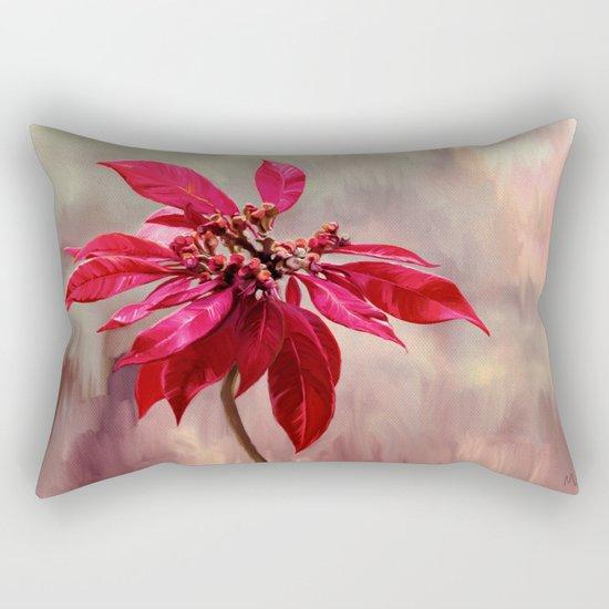 Poinsettia Painting Rectangular Pillow