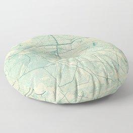 El Paso Map Blue Vintage Floor Pillow