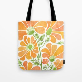 Happy California Poppies / hand drawn flowers Tote Bag
