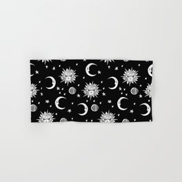 Linocut black and white sun moon and stars outer space zodiac astrology gifts Hand & Bath Towel