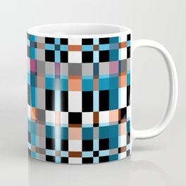 Blue white orange geometric pattern . In the cage Coffee Mug