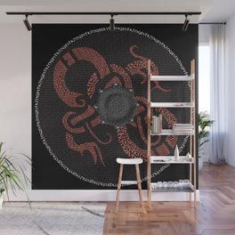 Watercolor Graphic 04, Norse Viking Dragon Shield, Fortitude Courage and Strength Wall Mural