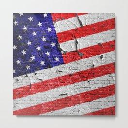 Vintage Patriotic American Flag Metal Print