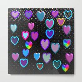 Confetti Hearts Metal Print
