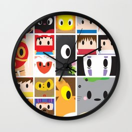 World of Ghibli Blocks Wall Clock