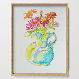 Zinnia Bright Bouquet Water Pitcher watercolor by CheyAnne Sexton Serving Tray
