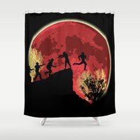 zombies Shower Curtains featuring Zombies! Run you fool... by kamonkey