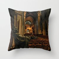 patrick Throw Pillows featuring saint patrick by Lisa Carpenter