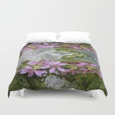 Flowers and reflections in water Duvet Cover