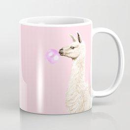 Playful Llama Chewing Bubble Gum in Pink Coffee Mug