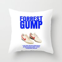forrest gump Throw Pillows featuring Forrest Gump Movie Poster by FunnyFaceArt