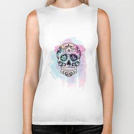 Watercolor Sugar Skull Biker Tank