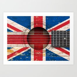 Old Vintage Acoustic Guitar with Union Jack British Flag Art Print