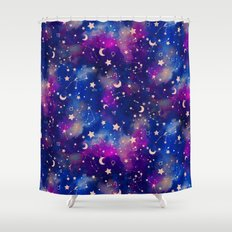 Zodiac - Watercolor Dark Shower Curtain