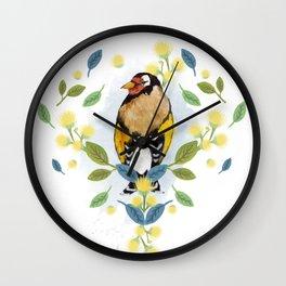 European Goldfinch - Bird Watercolor Wall Clock
