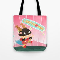 superheros Tote Bags featuring Candywoman by Alapapaju