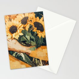 Holding Sunflowers #society6 #illustration #nature #painting Stationery Cards