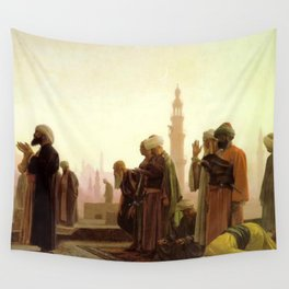 Islamic Masterpiece 'Prayer in Cairo' cityscape rooftop prayer portrait by Jéan Leon Gerome Wall Tapestry