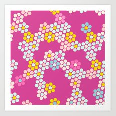 Flower tiles in hot pink Art Print