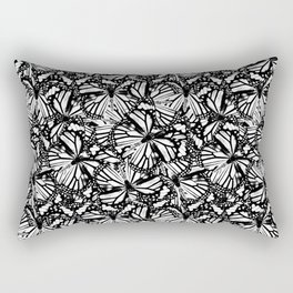 Monarch Butterflies Pattern | Butterfly Pattern | Black and White | Rectangular Pillow