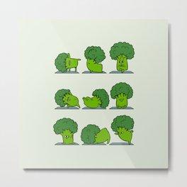 Broccoli Yoga Metal Print