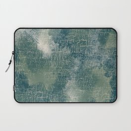 Grunge Abstract Art in Teal, Olive Green and Cream Laptop Sleeve