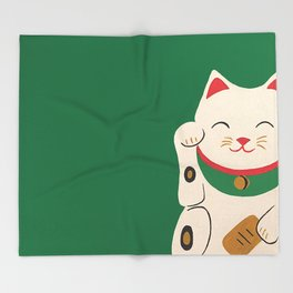Green Lucky Cat Maneki Neko Throw Blanket